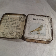 Embroidery art tin The Linnet