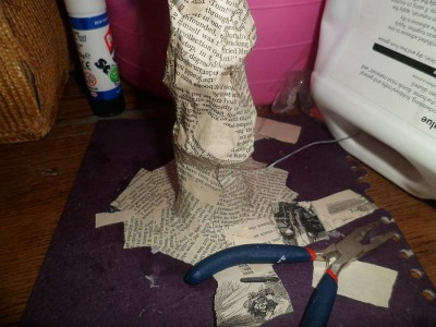 Paper sculpture with papier mache