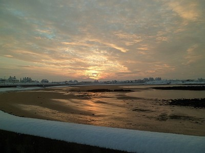 Snowy Saturday sunrise in Trearddur Bay