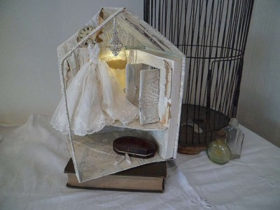 Assemblage miniature house book sculpture A forgotten place by MesssieJessie