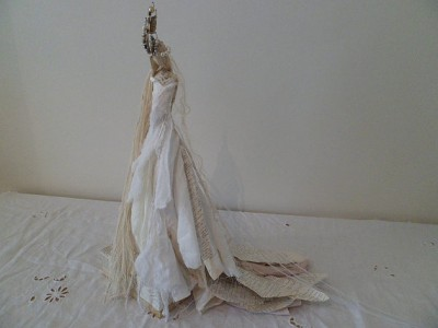Wire and papier mache Sculpture - The Enchanted White Peacock by MesssieJessie