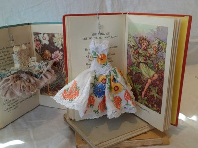 SALE Art dress and vintage illustrated fairy flowers book by MesssieJessie