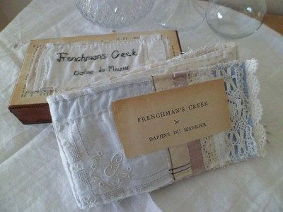 SALE Fabric embroidered art book in a wooden box, Frenchman's Creek by Daphne du Mourier by MesssieJessie