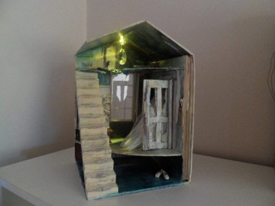 Assemblage miniature house book sculpture A forgotten time by MesssieJessie