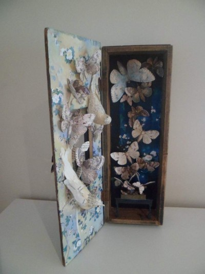 Assemblage vintage wooden box with beautiful moths The Moth by MesssieJessie