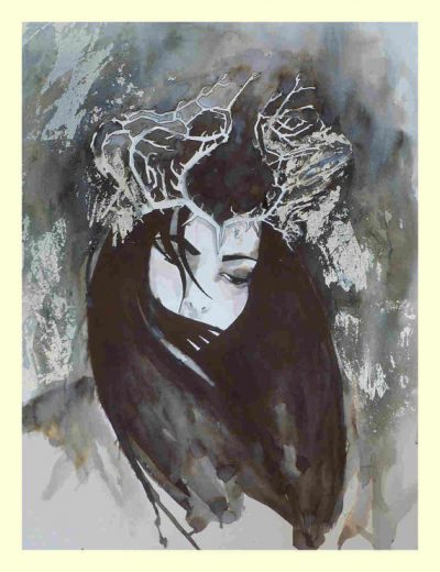 Art print from an original water colour and ink illustration the moth by MesssieJessie