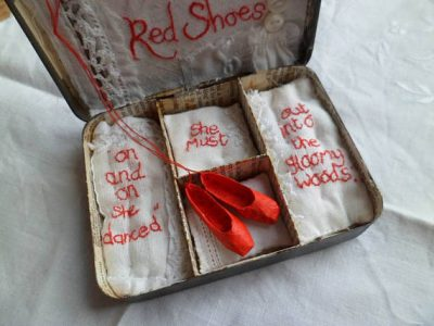 Art Assemblage story tin The Red Shoes by Hans Christian Anderson by MesssieJessie