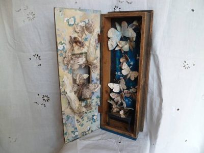 SALE Assemblage vintage wooden box with beautiful moths The Moth by MesssieJessie